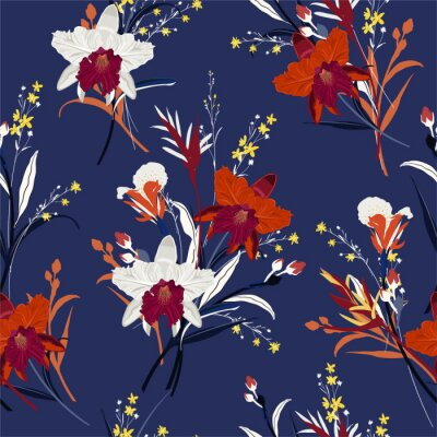 Tapeta Beautiful Bouquet of orchid flower seamless pattern in hand drawn vector wild garden background, design for fashion,fabric,web,wallpaper and all prints