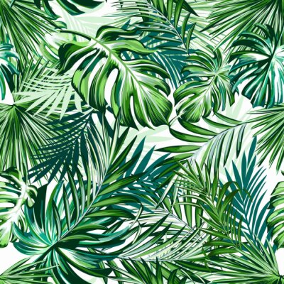 Tapeta Beautiful tropical pattern with green palm leaves for design ideal for fabric design