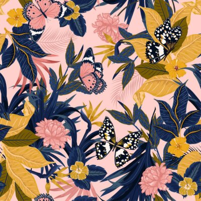 Tapeta Beautiful vector seamless beautiful artistic sweet tropical pattern with exotic forest. Original stylish floral background print,design for fashion,fabric and all prints ,