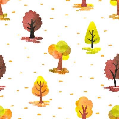 Tapeta Bez szwu akwarela jesienią deseń drzew. Wektor lasu jesienią tła.