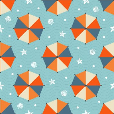 Tapeta bez szwu deseń latem z parasolką kolorowe plaży, gwiazda ryb, powłoki i polka dot na niebieskim tle fali.