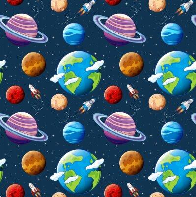 Tapeta Bez szwu deseń planet i przestrzeni