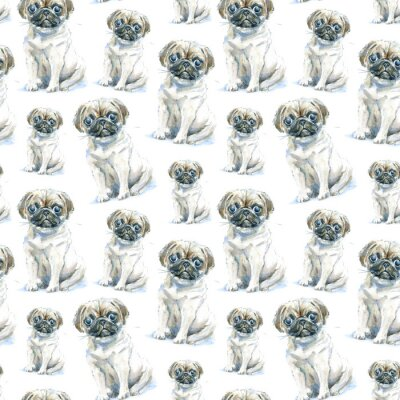 Tapeta Bez szwu deseń puppy puppy.Greeting karty pies.Domestic pet.Watercolor ręcznie narysowanego illustration.White tła.