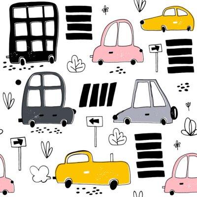 Tapeta Bez szwu deseń ręcznie rysowane cute samochodu. Samochody Cartoon, znak drogowy, zebra przekraczania ilustracji wektorowych.Perfect dla dzieci tkaniny, tekstylia, przedszkole tapety