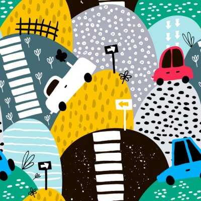 Tapeta Bez szwu deseń ręcznie rysowane ładny samochód i wzgórza. Cartoon samochodów, znak drogowy, zebra przekraczania ilustracji wektorowych. Idealny dla dzieci tkaniny, tekstylia, szkółkarskie tapety