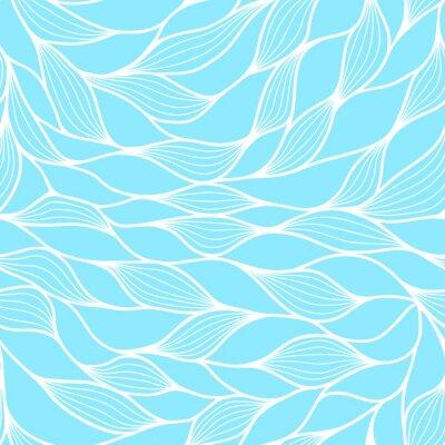 Tapeta Bez szwu deseń z abstrakcyjna fale. Faliste niebieskie tło lazur. Tekstury fali wektorowej.