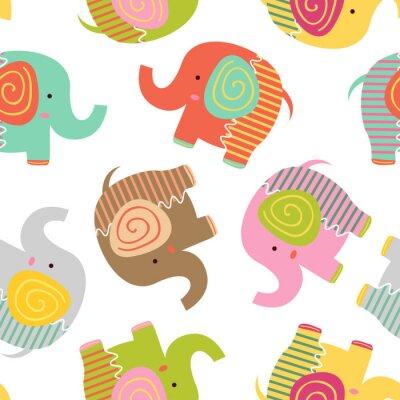 Tapeta bez szwu deseń z baby słonia - ilustracji wektorowych, eps
