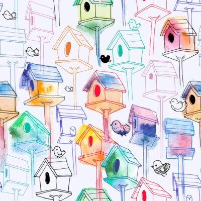 Tapeta Bez szwu deseń z birdhouse akwarela na białym tle. R? Cznie rysowane domy ptaków w stylu lini? Z sylwetk? Wodorostów. Ilustracja do drukowania tkanin, tapety, papier pakowy, tło.