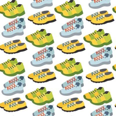 Tapeta Bez szwu deseń z butów tenisówka kolor płaskim tle odzież ilustracji wektorowych.