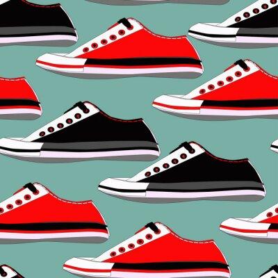 Tapeta Bez szwu deseń z butów w kolorach czerwonym i niebieskim