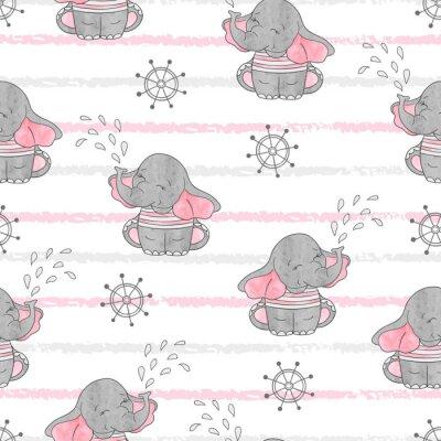 Tapeta Bez szwu deseń z cute słonie marynarzy. Wektor tła. Dziecko drukować.