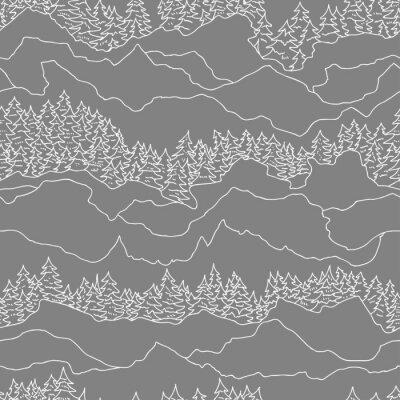 Tapeta Bez szwu deseń z drzew i gór