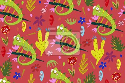 Tapeta Bez szwu deseń z Kameleons i roślin. Tropikalny ornament. Jaszczurki i kwiaty.