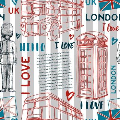 Tapeta Bez szwu deseń z landmark londyński symbole na paski tle. Vintage ręcznie rysowane ilustracji wektorowych w stylu szkicu.