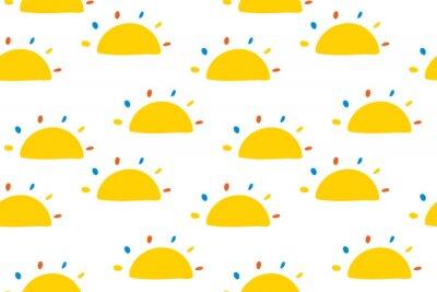 Tapeta Bez szwu deseń z mało suns cartoon