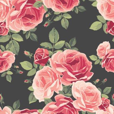 Tapeta Bez szwu deseń z róż. Archiwalne tła kwiatu. Ilustracji wektorowych