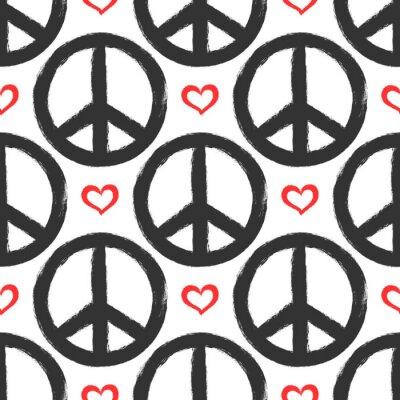 Tapeta Bez szwu deseń z serca i objawów pokoju. Grunge, graffiti, szkic, akwarela, farba.