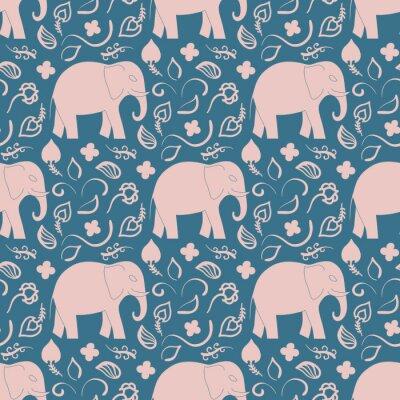 Tapeta Bez szwu deseń z słonie i kwiaty. Tło dla włókienniczych, baby shower, kartkę z życzeniami, opakowanie. Flora orientalne l ozdoba.