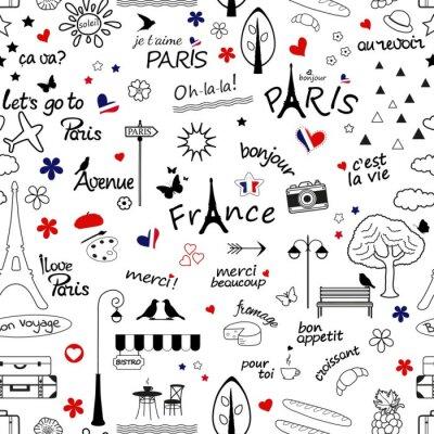 Tapeta Bez szwu deseń z symbolami Francji