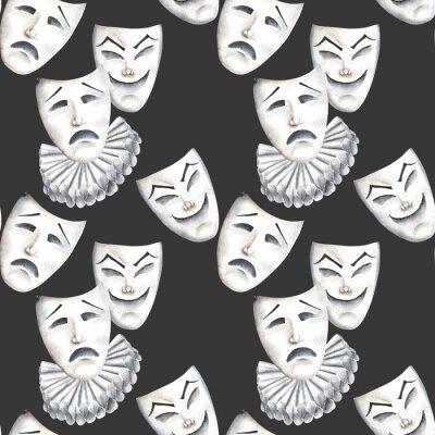 Tapeta Bez szwu deseń z teatru maski śmiechu i smutek emocji, ręcznie rysowane na czarnym tle