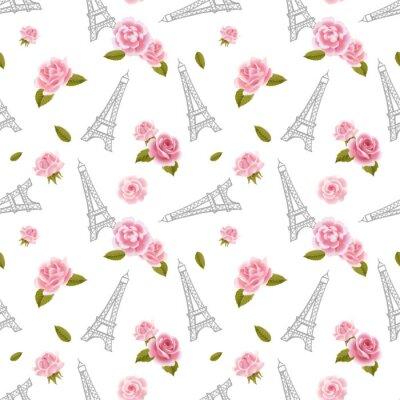 Tapeta Bez szwu deseń z wieży Eiffla i róże na białym tle.