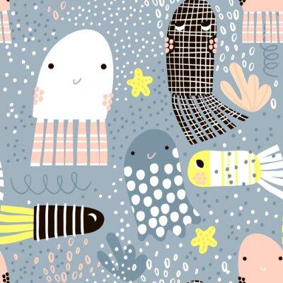 Tapeta Bez szwu deseń z zwierząt morskich galaretki ryby, ryby. Undersea Childish teksturę dla tkaniny, tekstylne. Wektor tła
