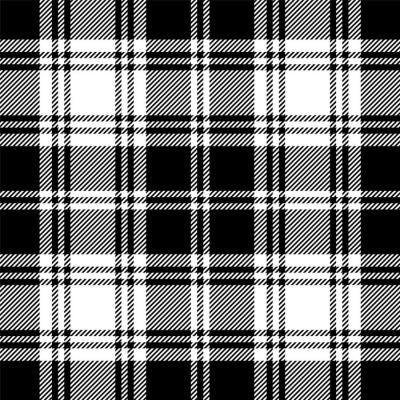 Tapeta Bez szwu tartan czarno-biały wzór