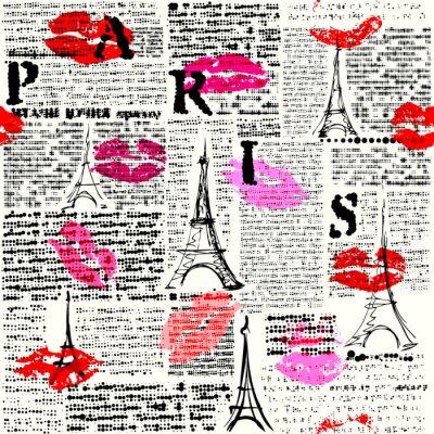 Tapeta Bez szwu tła deseń. Imitacja gazety z halftone słowo Paryża.