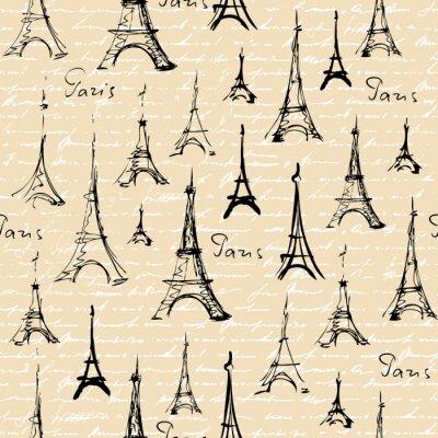 Tapeta Bez szwu tła deseń. Imitacja kolażu widokowego z Parisem.