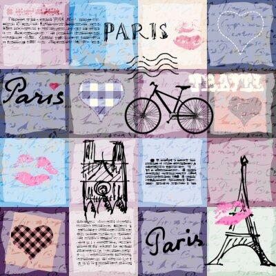 Tapeta Bez szwu tła deseń. Retro kolażu notatnika Paryż.