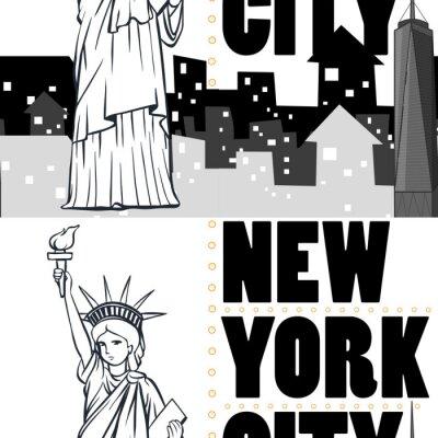 Tapeta Bez szwu tła z budynków i posągu Nowego Jorku