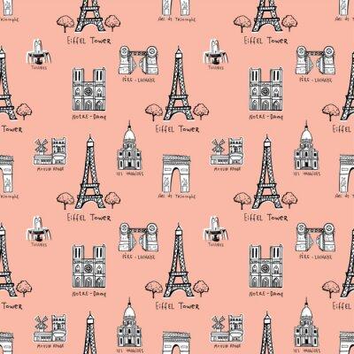 Tapeta Bez szwu tła z symbolami Paryża