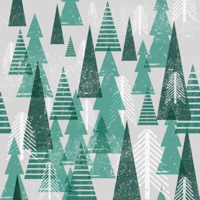 Tapeta Bez szwu wektora lasów zimowych. Boże Narodzenie w tle. Zielone drzewa w chmur. Grunge tekstury grafiki proste elementy.