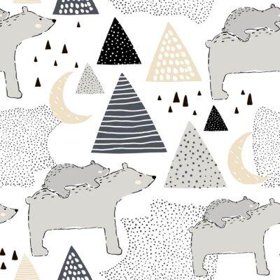 Tapeta Bezproblemowa dziecinna wzór z niedźwiedzia polarnego mama i dziecko. Kreatywny projekt dla dzieci. Idealny do tkanin, tkanin, osnowy, nursery.Vector ilustracji