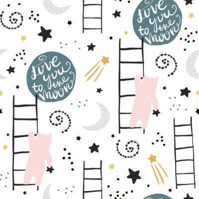 Tapeta Bezproblemowa dziecinna wzór z niedźwiedziami, gwiazdami i księżycem. Kreatywnych dzieci tekstury do tkanin, pakowania, włókienniczych, tapety, odzieży. Ilustracji wektorowych