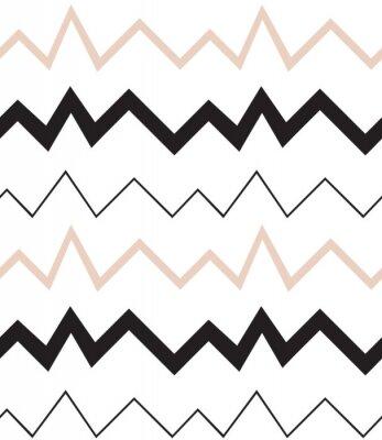 Tapeta Bezproblemowa geometryczny wzór. Minimalistyczny nowoczesny styl. Abstrakt góry. Zygzak. Jest czarno biały i nagie kolory.