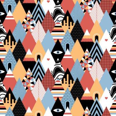 Tapeta Bezproblemowa geometryczny wzór w stylu płaskiej z rosnącymi trójkąty / góry. Przydatne do owijania, tapety i tekstyliów.