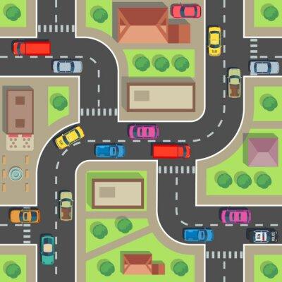 Tapeta Bezproblemowa mapa miasta. Widok z góry na budynek i ulicę z samochodami i ciężarówkami. Plan miasta wektor niekończące się tekstury. Architektura dróg i budynków, ilustracja transportu bez szwu ulicy