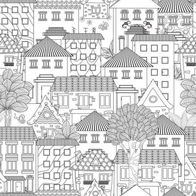 Tapeta bezszwowa tekstura z śmiesznymi domami i drzewami dla kolorystyki książki