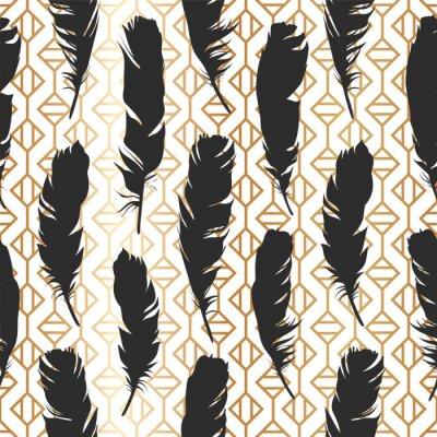 Tapeta Bezszwowe czarne ilustracji z piór na z? Otym geometricbackground. Naturalny wzór wektora. Styl Boho. Proste sylwetki.