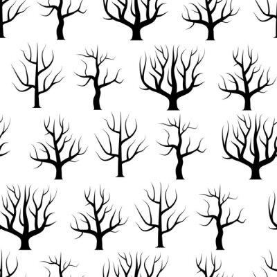 Tapeta Bezszwowe czarno-białe drzewa zakrzywione bez liści tła. Wektorowa lasowa bezszwowa tekstura.
