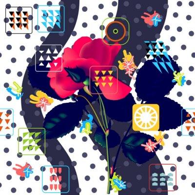 Tapeta Bezszwowe tło wzór kwiatowy. Czerwona róża nad modny geometryczny ornament. Modny design w stylu memphis w stylu retro. Ilustracja wektorowa siatki