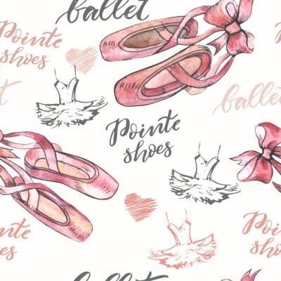 Tapeta Bezszwowe tło z ręcznie rysowane baletki pointes buty