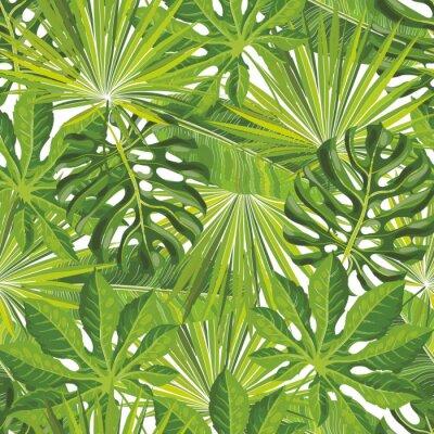 Tapeta Bezszwowe tropikalny wzór liści z zielonymi gałązkami palmowymi w styl szkic. Ręcznie rysowane ilustracji wektorowych z lato zwrotnik tło dla projektu tła, druk, papier pakowy lub tapety.