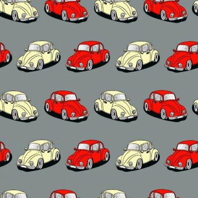 Tapeta Bezszwowe wektor wzór z ręcznie rysowane uroczych samochodów