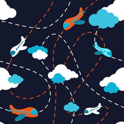 Tapeta Bezszwowe wzór samolotu. Samolot w chmurach. Styl kreskówek. Kolorowy samolot na ciemnym tle. Wzór wzór chłopca dzieci