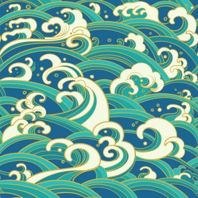 Tapeta Bezszwowe wzór z falami wodnymi i chlapaniami