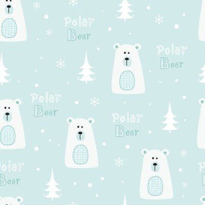 Tapeta Bezszwowe wzór z niedźwiedziami polarnymi
