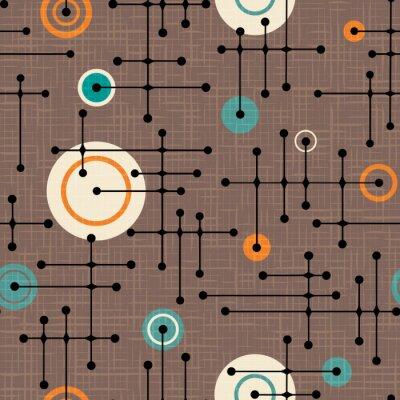 Tapeta Bezszwowy 1950s retro wzór linie i okręgi dla tkanina projekta, opakunkowy papier, tła. Nakładka na teksturę lnu. Ilustracji wektorowych.