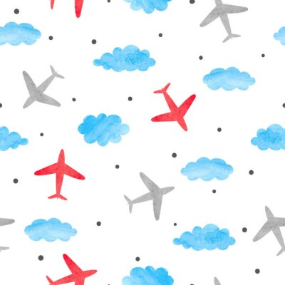 Tapeta Bezszwowy chłopiec wzór z akwareli samolotami, chmurami i.